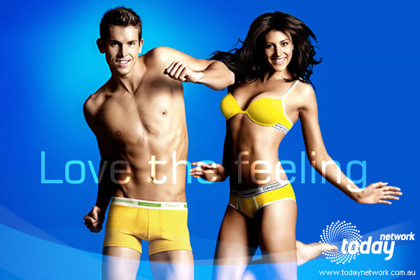 Olympic swimmers Stephanie Rice and Eamon Sullivan for Davenport Underwear.