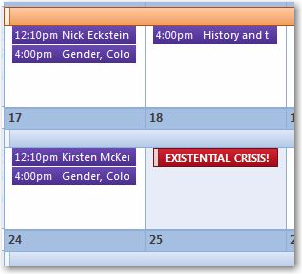 Image of a calendar with an existential crisis scheduled